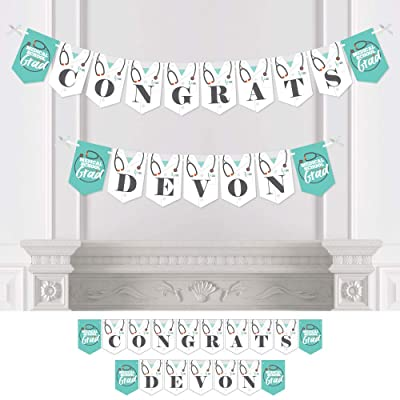 Big Dot of Happiness Personalized Medical School Grad - Custom Graduation Party Bunting Banner and Decorations - Congrats Custom Name Banner: Toys & Games