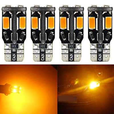 4-Pack T10 194 168 W5W 2825 Extremely Bright Amber/Yellow 550Lums Canbus Error Free 12V LED Light,10-SMD 5730 Chipsets Car Replacement Bulb For Map Dome Courtesy License Plate Side Marker Light: Automotive [5Bkhe0404330]
