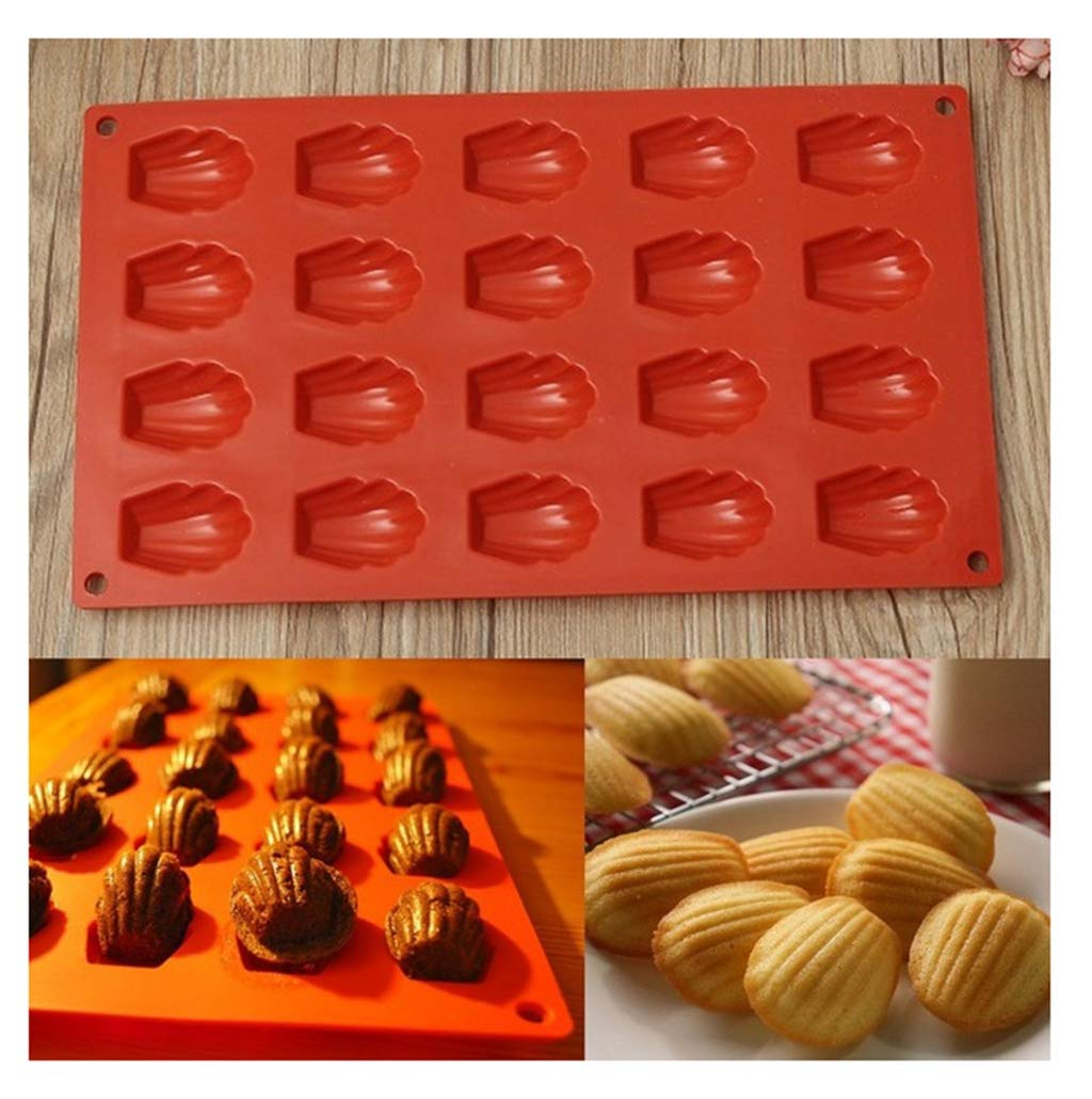 DIY Silicone Madeleines Mold Cake Pudding Tray Biscuit Chocolate Pastry Bakeware 20 Shell Cavity Baking Mould