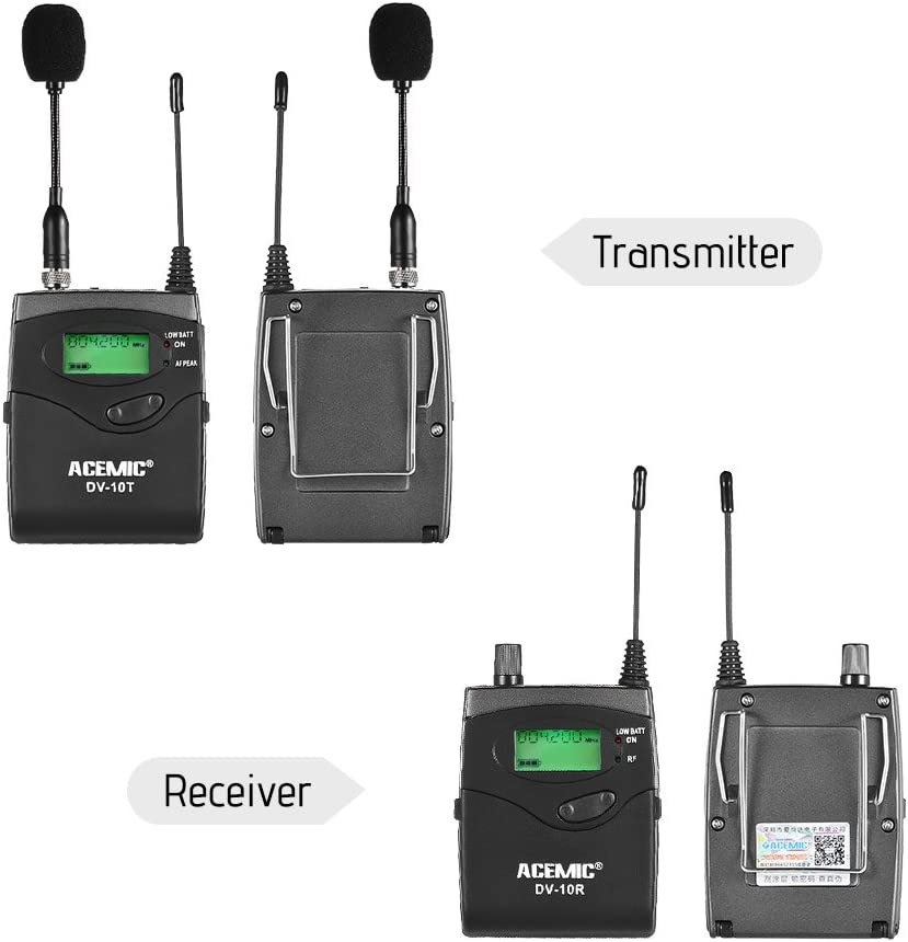 TPOTOO ACEMIC DV-10 UHF Wireless Transmitter Receiver Microphone Lavalier Lapel Mic Ear-Monitor System 40 Channel LED Display with Hard Case for Cannon Nikon Sony DSLR Camera XLR Camcorder Interview