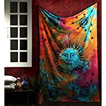 Indian Psychedelic Tapestry Sun and Moon Tapestry Wall Hangings Tapestries Celestial Hippy Bedspread Indian Bedsheet Beach Throw Tapestries Sun-Moon Tie Dye Tapestry By Rajrang.