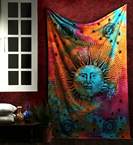 Rajrang Psychedelic Muti Colour Bed Cover Home Decor Cotton Boho Sun and Moon Tapestry Turquoise Bedsheet Star Single 86 X 56 Bedspread