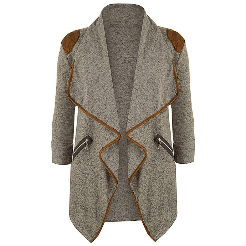 HTHJSCO Cardigans for Women Casual Womens Plus Size Long Sleeve Cardigan Jacket Outwear (Khaki, L)
