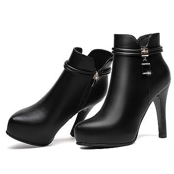 65c1504b380 LBTSQ-Tacones Altos Delgados Tacones Botas Cortas 10Cm Wild Algodón  Terciopelo De Algodón De Cuadros De Fondo Grueso Impermeable Zapatos  Zapatos Zapatos De ...