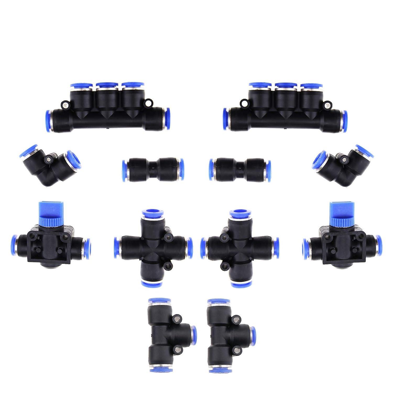 v/álvulas de Mano Rectas Profesionales Juego de 12 Piezas de Juntas neum/áticas para tuber/ías de 8 mm OD 5//16 Pulgadas Tubo de Cruz Codo en T Recto YINETTECH
