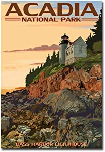 "Acadia National Park, Maine Bass Harbor Lighthouse Travel Vintage Art Refrigerator Magnet Size 2.5"" x 3.5"""