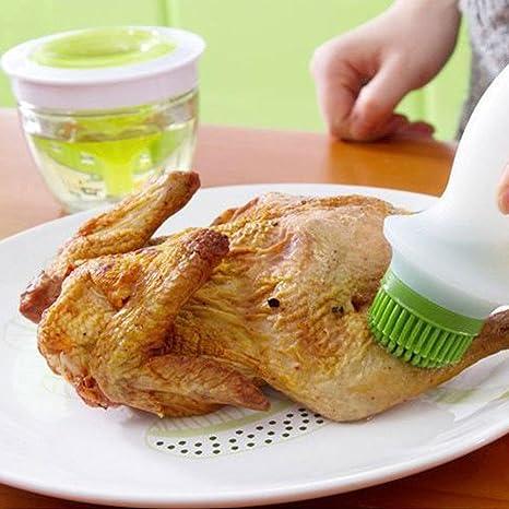 ancaixin verde pequeño aceite de silicona hilván Pincel Set con botella de cristal recipiente para barbacoa 5-Ounce: Amazon.es: Jardín