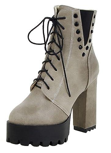 SHOWHOW Damen Nieten Stiefelette Blockabsatz Kurzschaft Stiefel Beige 34 EU 0Xt3ojrd