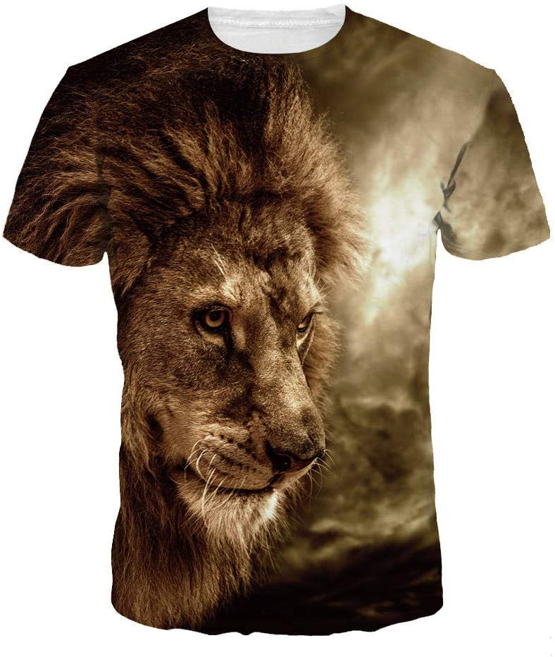Hombre 3D Graphic Print Camisetas Deep Melancholy Lion King Camiseta Masculina 3DT Camisa Manga Corta Cuello Redondo impresión Digital Casual Manga Corta: Amazon.es: Deportes y aire libre