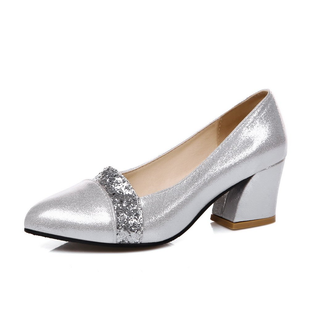 AmoonyFashion Women's Kitten Heels Solid Pull On Pointed Closed Toe Pumps-Shoes, Silver, 37