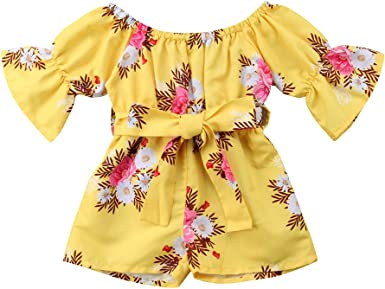 Toddler kid Baby Girl Summer Off-Shoulder Ruffle Lace Party Dress Casual Clothes