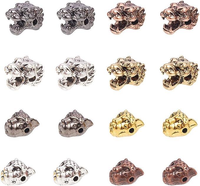 10pc New Design Leopard Head 11mm Metal Animal Spacer Loose Beads Green CZ Eye