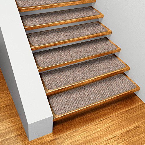 Set of 15 Skid-resistant Carpet Stair Treads - Pebble Beige - 8 In. X 30 In. - Several Other Sizes to Choose From
