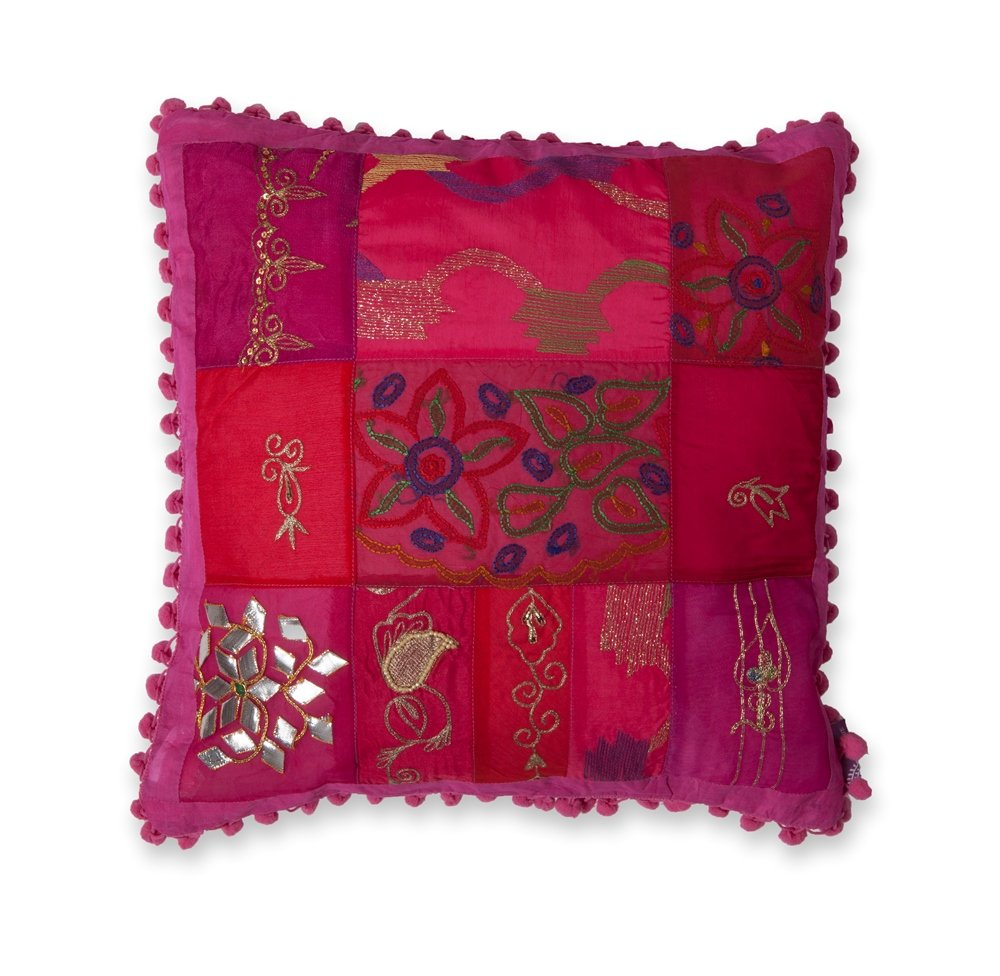 40 x 40 cm Colorique Bindi Cushion Cover Pompon Raspberry Pattern may vary