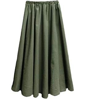 6b605087fc Soojun Women s Solid Cotton Linen Retro Vintage A-line Long Maxi Skirts
