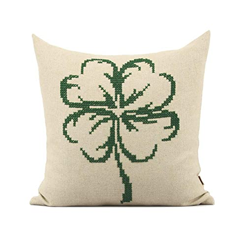 Amazon Com Clover Cross Stitch Hand Embroidered Floral Pillowcase Covers Decorative Cushion 18 X 18 Handmade