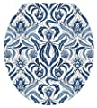 Toilet Tattoos, Toilet Seat Cover Decal,Blue Damask, Size Round/standard