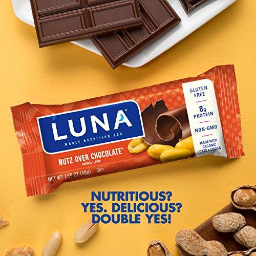 LUNA BAR - Gluten Free Bar - Nutz Over Chocolate - (1.7 oz, 6 Count)