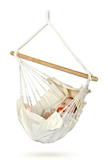 Medium image of la siesta yayita ecru   organic cotton baby hammock