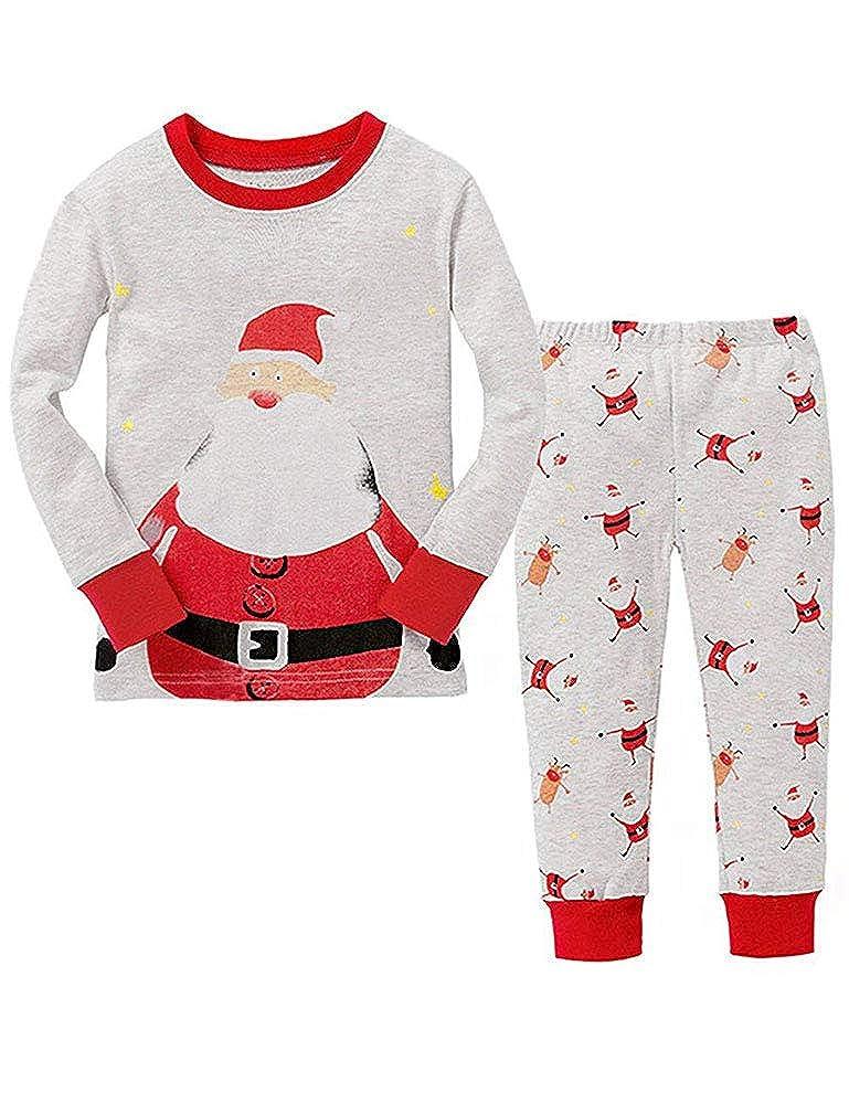Christmas Boys Pyjamas Set for Kids Xmas Pjs Santa Claus Toddler Girls Pyjamas Long Sleeve Sleepwear Clothes 2 Pieces 100/% Cotton Age 1-7 Years