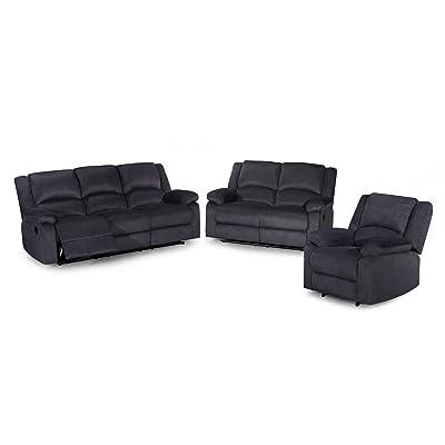 US Pride Furniture Contemporary 3Piece Fabric Reclining Sofa Set, Dark Grey