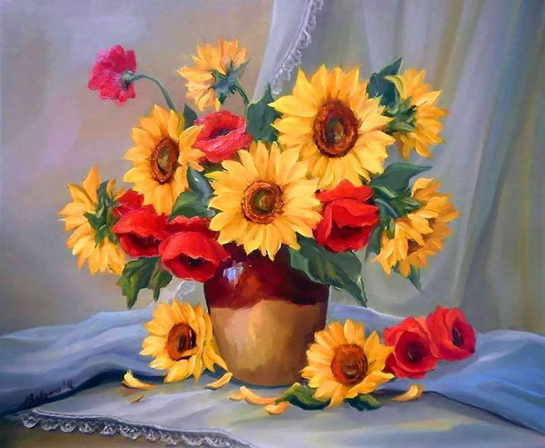 """16/"""" x 20/"""" Red Rose /& Sunflower Pattern iCoostor Paint by Numbers DIY Acrylic Painting Kit for Kids /& Adults Beginner"""