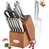 Marco Almond KYA26 Knife Sets, 14 Pieces High Carbon Stainless Steel Kitchen Knife Set in Hardwood Block,Single Piece Forged