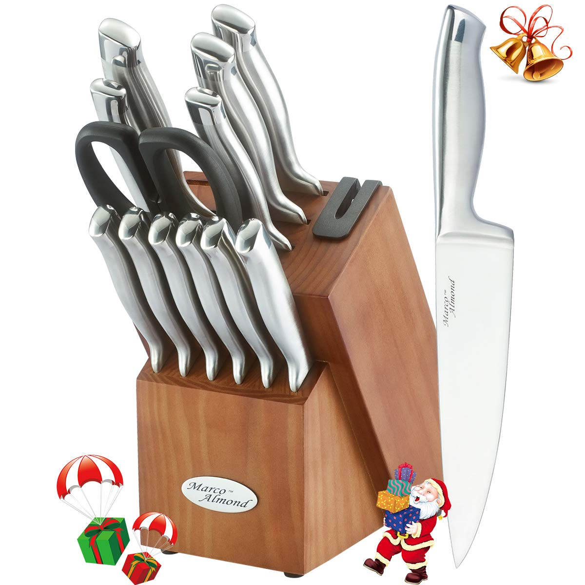 Knife Set, KYA26 Knife Block Set with Block, Single Piece Forged, 14 Pieces Kitchen Knife Set with Block and Sharpener, Self Sharping, Stainless Steel Silver Cutlery Knives Set, Best Gift