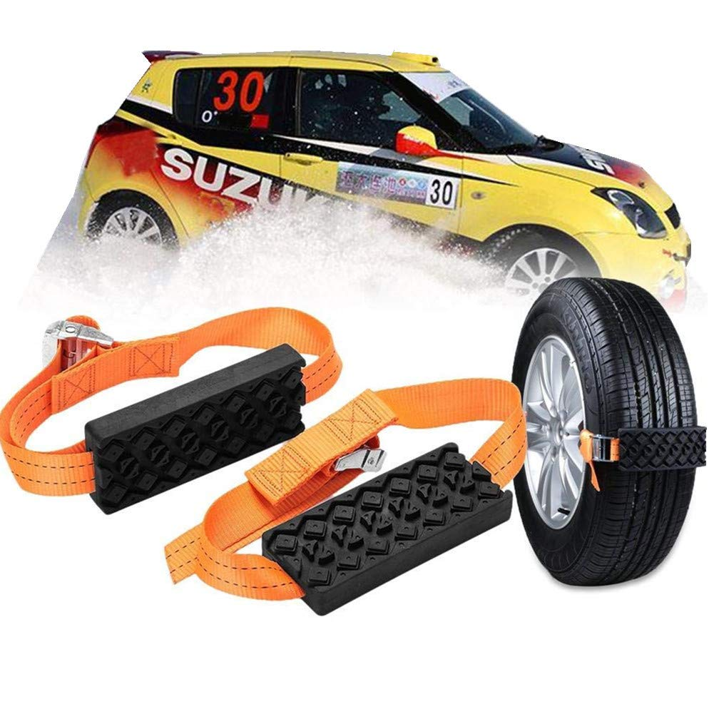 Car Tire Anti-Skid Block, Cable Snow Tire Chain Reusable Car Anti Slip Tire Traction Easy Installation/Removal for Car Truck SUV Emergency Winter Driving (4 PCS) LonTime