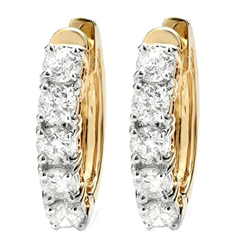 Dazzlingrock Collection 1.00 Carat ctw 10K Ladies Huggies Hoop Earrings 1 CT, Yellow Gold