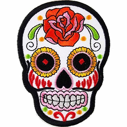 White Novelty Iron on Skull Candy Embroidered Patch / Badge Motorcycle Biker WITH FREE GIFT