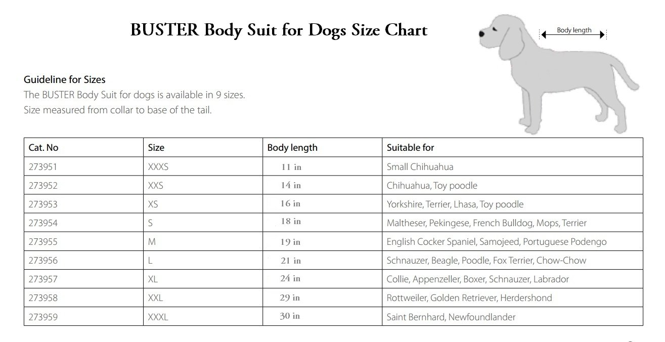 Kruuse Buster Body Suit for Dogs, Black/Grey, 29''/Size XX-Large by Kruuse