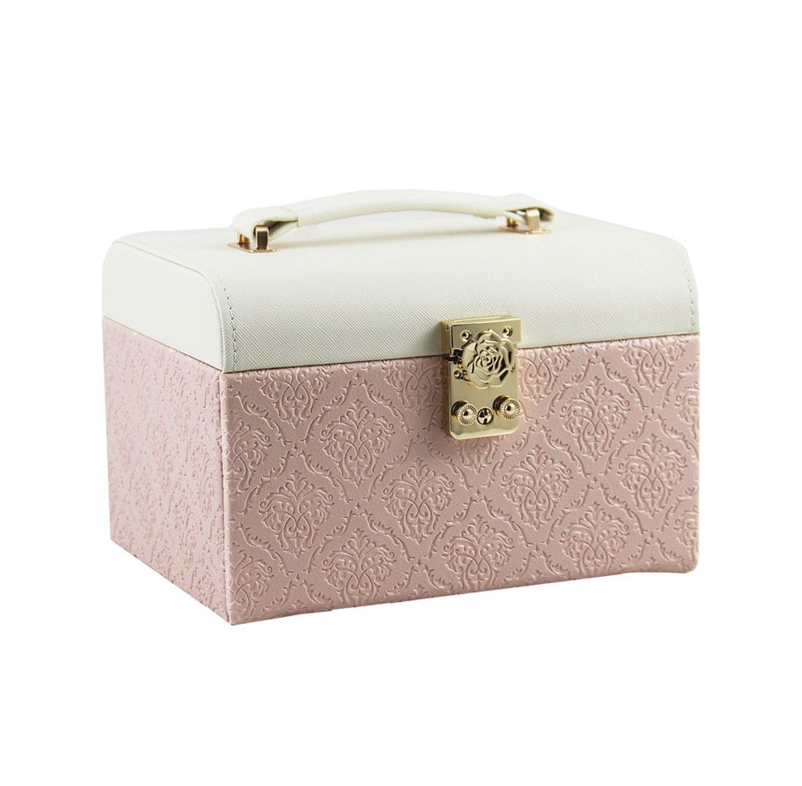 TG Faux Leather Jewelry Box, Necklace Jewelry Bracelet Stud Earrings Earring Ring Organized Storage Box Case Lockable Portable Wood, Pu Pink (201614Cm)