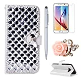 Moto G 3rd Generation Case, Moto G 3rd Gen Case, Mellonlu 3D Bling PU Leather Flip Wallet Case for Motorola Moto G (3rd Generation), with Free Stylus Pen + Screen Protector + dust plug