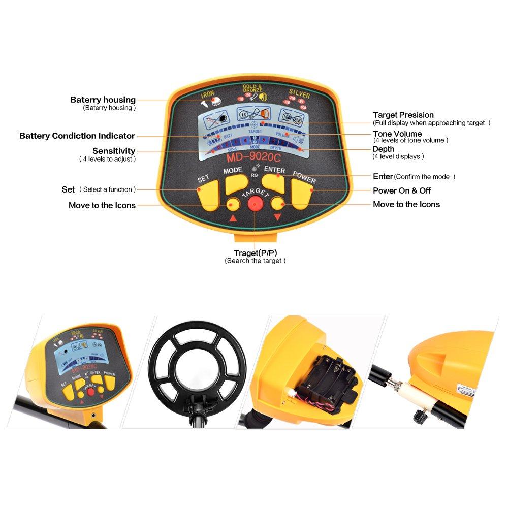Detector de metales shuogou md9020 C profesional de alta sensibilidad impermeable Detector de metales subterráneo - caza del tesoro búsqueda pantalla LCD: ...