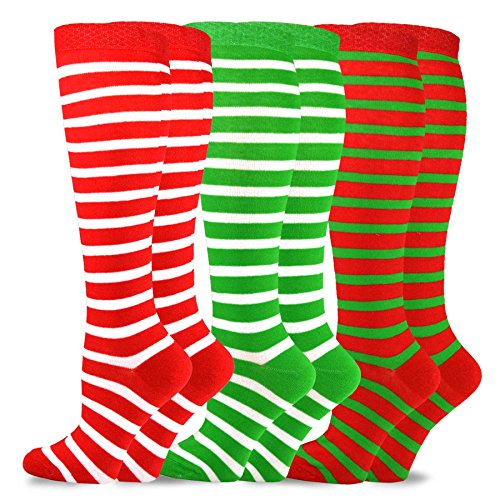 TeeHee Christmas and Holiday Fun Knee High Socks for Women 3 Pair Pack (Candy Cane)]()