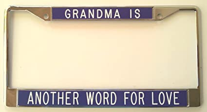 gift for grandma grandma is another word for love purple background license plate frame
