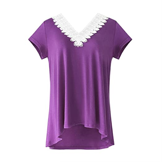 01525395919 Image Unavailable. Image not available for. Color  Wintialy Women Plus Size  Lace Hollow V Neck Summer Short Sleeve Blouse A-Line T