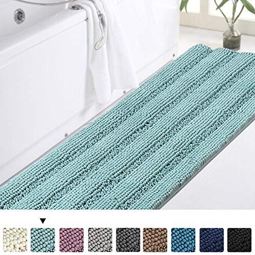 Turquoize Bathroom Runner Rug Extra Long Chenille Area Rug Non-Slip Blue Bathroom Rug Shag Shower Mat Blue Bathroom Rugs Kitchen Rugs Washable Bath Mats for Bathroom 59 x 20 inches, Duck Eggshell Blue
