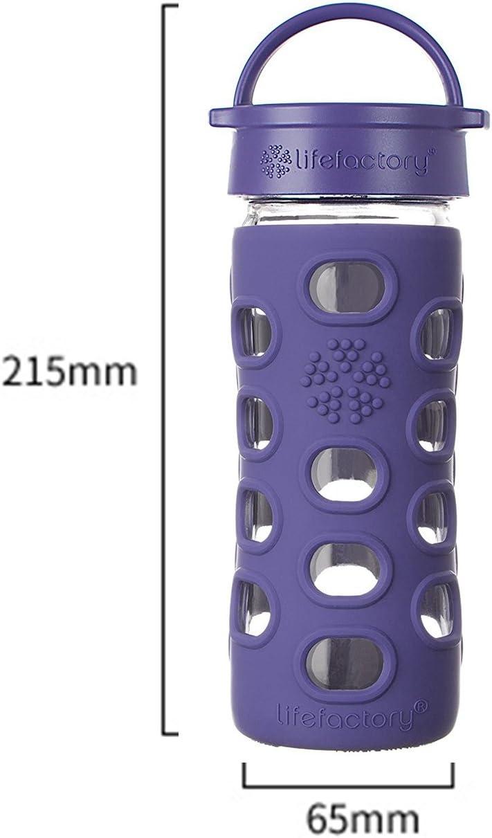 Lifefactory Botella de agua de vidrio sin BPA de 16 onzas con tapa ...