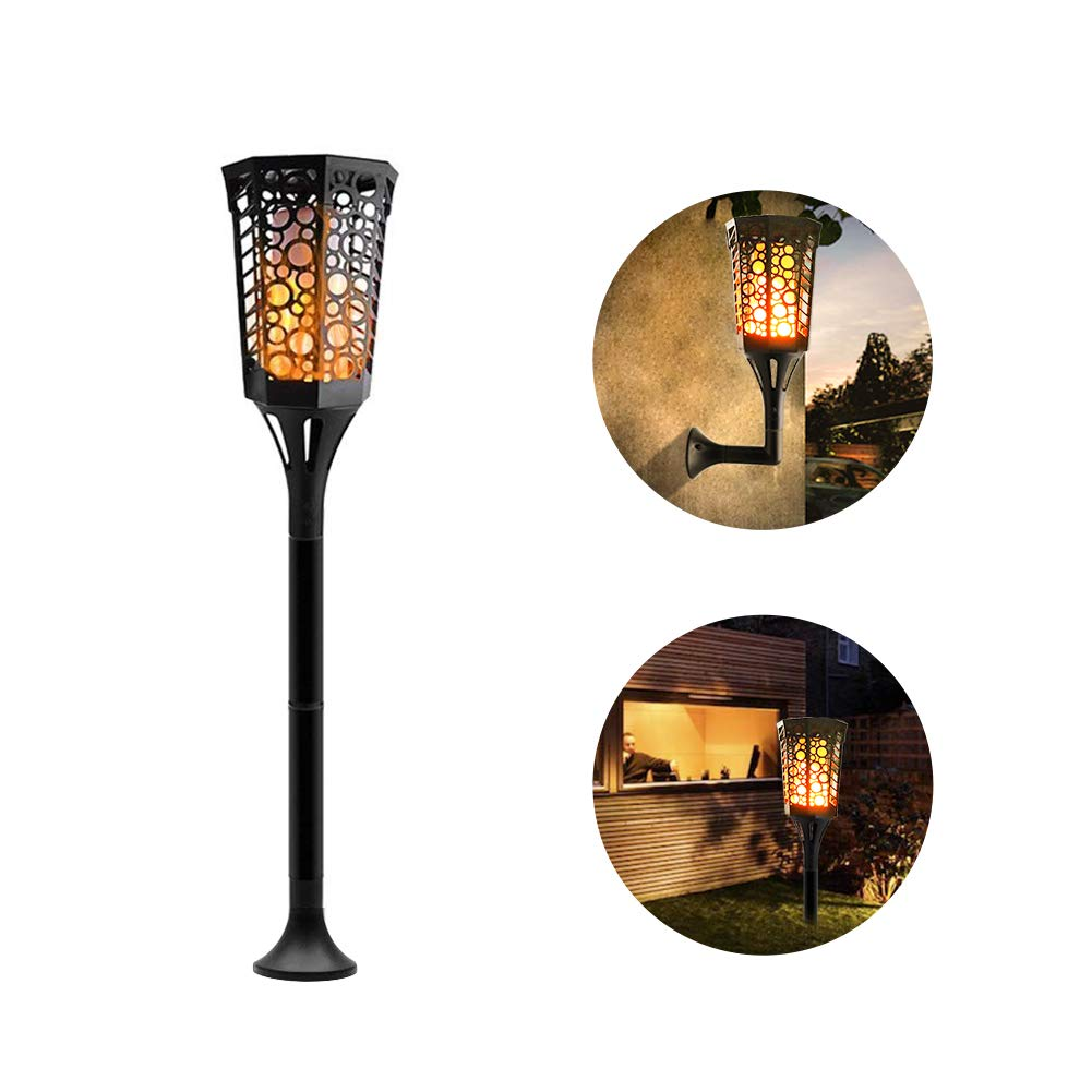 Komoon Solar Torch Lights Flickering Dancing Flame Lights 96LED 3 Installation Way Outdoor Waterproof Landscape Decoration Lighting Dusk to Dawn Security Path Light for Garden Patio Driveway