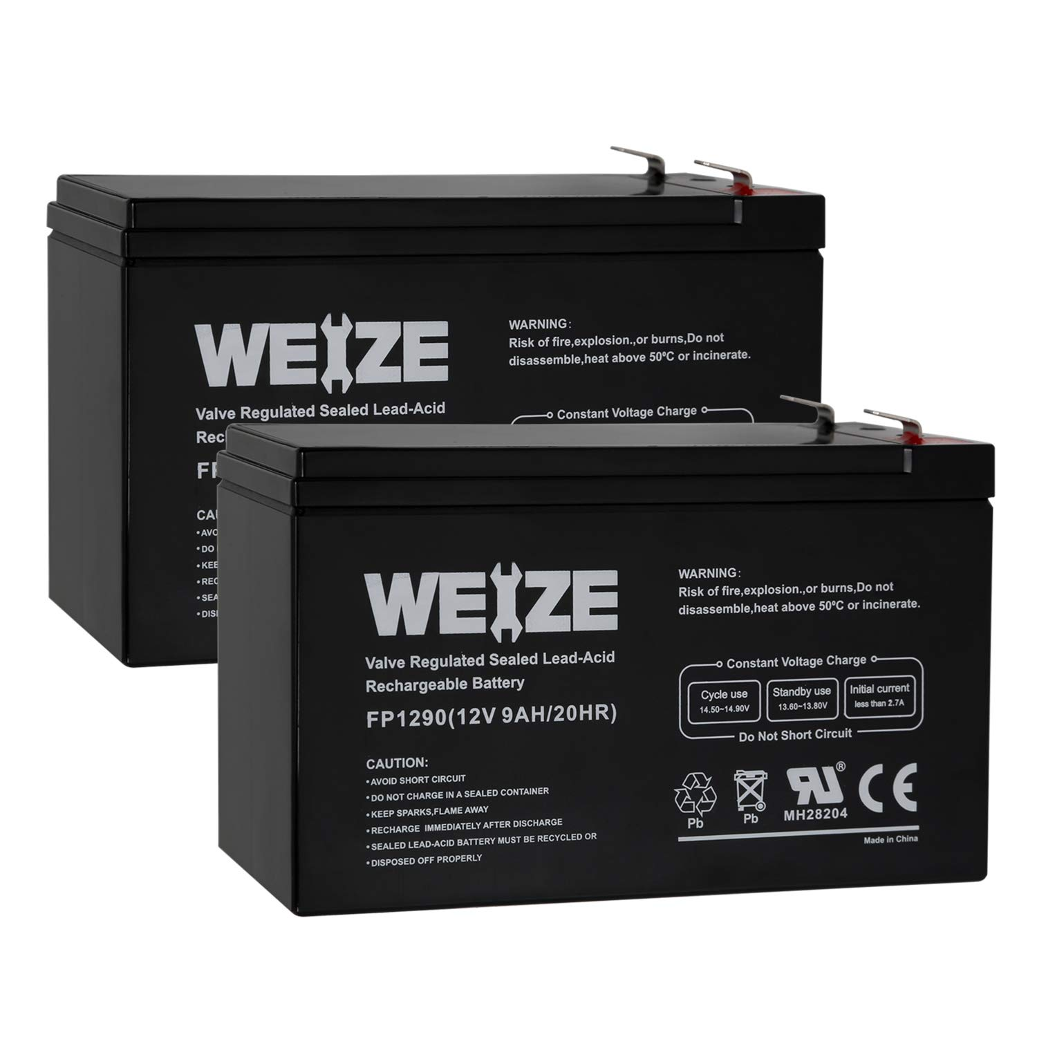 Weize 12V 9AH Rechargeable SLA Battery For APC UPS Computer Backup Power (BX1300LCD), APC Back-UPS NS 1250, 2 PACK