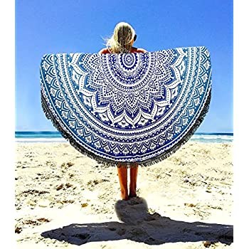 Aakriti Gallery Indian Ombre Mandala Round Tapestry Roundie with frill Beach Throw Cotton Beach Towel, Round Yoga Mat with frill Beach Round Shawl, ...