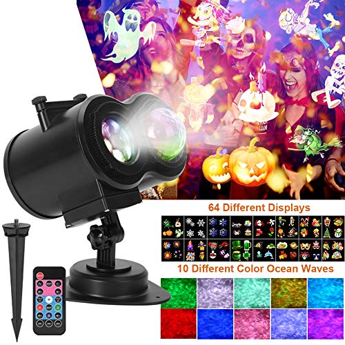 Water Wave Lights, Halloween LED Light Projector with 64 Different Displays and 10 Different Remote Control Color Ocean Waves Ripple Effects for Halloween Christmas Parties Bedroom Lawn Patio Yard
