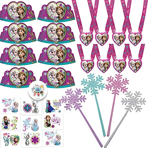 Wearable Frozen Princess Birthday Party Favors Supply Pack For 12 Guests Perfect For Goodie Bag Fillers With Frozen Paper Tiaras, Snowflake Wands, Frozen Tattoos, Frozen Medals, and Exclusive Pin -