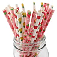 100 Counts Biodegradable Paper Straws,Summer Fruit Lemon Pineapple Strawberry Pattern Drinking Straws for Juices, Shakes, Smoothies,Best Suited for Parties, Events and Crafts