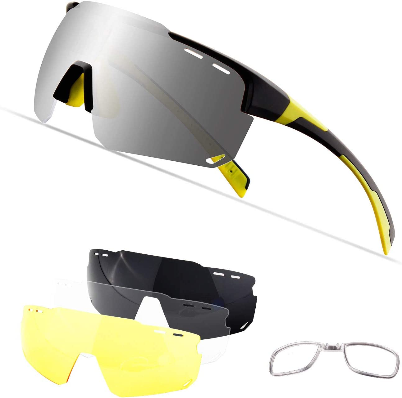 Xiyalai Cycling Sports Sunglasses,Polarized Glasses with 4 Interchangeable Lenses,Baseball Running Fishing Golf Driving Sunglasses