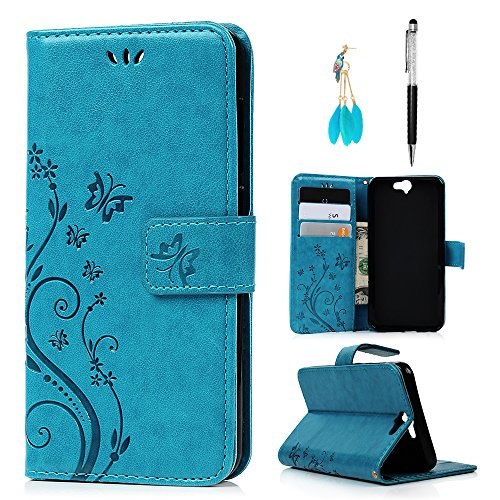 HTC One A9 Case Wallet, MOLLYCOOCLE PU Leather Wallet Embossed Florals Kickstand Magnetic Flip Case Card Holders & Hand Strap Case Cover for HTC One A9 -Blue