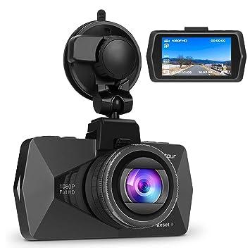 Crosstour Cámara de Coche Dash CAM 1080P Full HD 170°Ángulo Cámara para Coche G-Sensor Detección de Movimiento Grabación en Bucle HDR con Visión ...