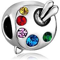 Artist's Palette Paintbrush Colorful Crystal Charms Bead Fits Pandora Charm Bracelets